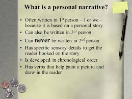 writing a first person essay and using connectors ppt video  what is a personal narrative