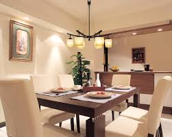modern down light chandelier combined white upholstered formal chair and brown wooden table modern contemporary dining