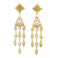 image is loading natural ice diamond chandelier earrings 18k yellow gold