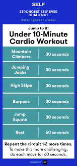 this advanced bodyweight cardio routine is from the strongest self ever challenge it s less than 10 minutes and requires zero equipment so yes you could