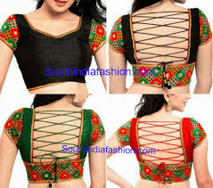 String Blouse Designs Mirror Work Readymade Blouse With Strings Sari Blouse