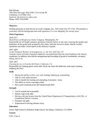 Truck Driver Resume Objectives With Work Experience And Skills Or