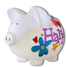 Hand Painted Piggy Bank Personalized With Design Theme Childu0027s Name And Birth Information