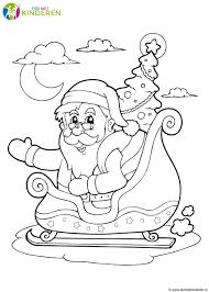 Kerstman Met Arreslee Kleurplaat