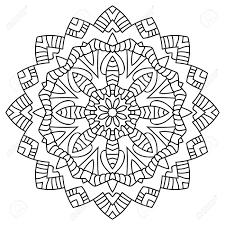 白い背景の上の円形対称マンダラパターンの塗り絵のイラスト大人のための絵画のページ