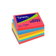 Lyreco memo bloc 5 neon colours 76x102 mm - pack of 6