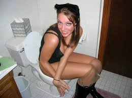 Girls naked on toilet