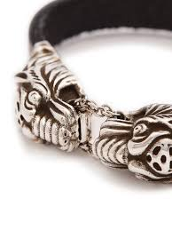gucci gucci tiger head leather bracelet mens silver goxip