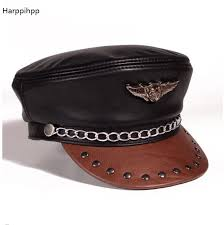 2017 new arrival fashion leather hat men and women winter cowhide flat capr harley motorcycle cap black germany military caps