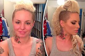 star christy mack seen without makeup left and with makeup right