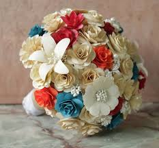 cherry red teal tangerine and cream wedding bouquets made of wooden flowers