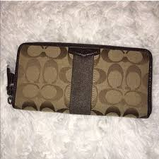COACH Signature Brown Jacquard Large Zipper Wallet