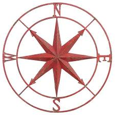 metal compass wall decor distressed red