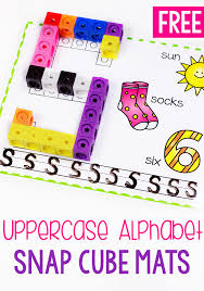 Free Printable Uppercase Alphabet Snap Cube Mat