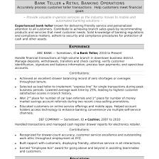Bank Teller Resume Sample Monster Com In Banking Resumes Perfect