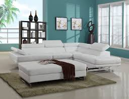 2 pc nova white leather gel upholstered sectional sofa with adjustable headrests and arm with chrome