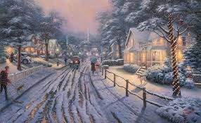 The village residents hurry to buy treats and presents and decorate their homes with string lights and wreaths. Hd Wallpaper Hometown Christmas Memories By Thomas Kinkade Snow Covered House Painting Wallpaper Flare