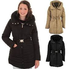 Women's Padded Quilted Belted Puffer Beige Black Ladies Winter ... & Image is loading Women-039-s-Padded-Quilted-Belted-Puffer-Beige- Adamdwight.com