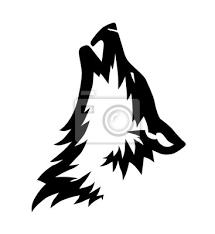 Fototapeta Dekorativní černo Vektorový Vlk Hlava Ilustrace Nebo Tetování