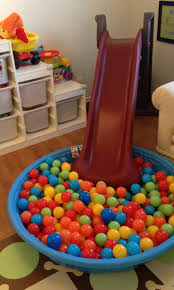Diy Indoor Slide Fun Playroom Idea With Slide And Baby Pool Full Of Plastic Balls