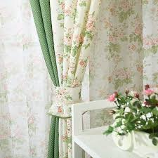 Korean style Printed <b>flower</b> Splice color Decorative Blackout curtains ...