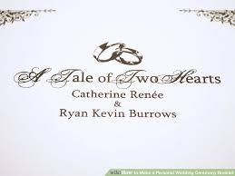 Wedding Ceremony Program Cover How To Make A Personal Wedding Ceremony Booklet 11 Steps