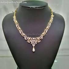 naj jewellery gold necklace diamond pearls trendy