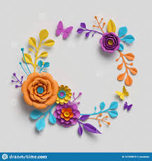 Flower Paper Clips 3d Render Paper Flowers Round Frame Botanical Background
