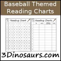 Baseball Hitting Charts Printable 3 Dinosaurs Baseball Themed Reading Charts