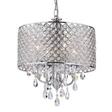 edvivi marya 4 light chrome round chandelier with beaded drum hanging clear crystal glass