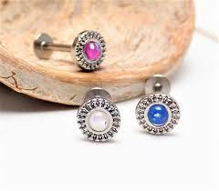 16g opal <b>sparkle ornate top</b> flat back labret medusa tragus | Etsy