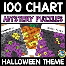 Halloween Activity Kindergarten First Grade 100 Chart Mystery Picture Puzzles