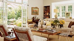 comfy brown wooden sunroom furniture paired. Neutral And Brown Cozy Living Room With Open French Doors, Lots Of Seating Exposed Comfy Wooden Sunroom Furniture Paired