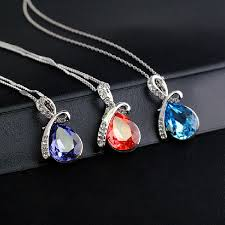 women s water drop rhinestone crystal pendant necklace silver red colour