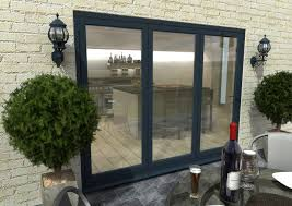 climadoor grey aluminium bi folding patio doors