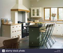Bar In Kitchen Central Island Breakfast Bar In Kitchen With Fitted Units Stock