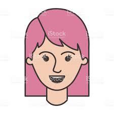 カラフルなシルエットの中間の長さの髪を持つ女性の顔 1人のベクター