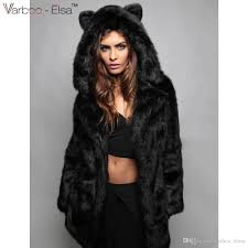 winter women thick warm fur coat long sleeve pocket overcoat black gray faux fur jacket hooded with bear ear cute outerwear sl by