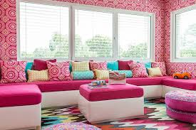snazzy multi colored rug looks great even in neutral kids rooms design