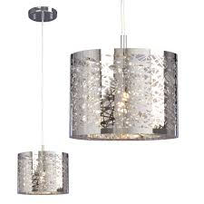 1 light mini pendant in polished chrome laser cut metal shade clear crystal