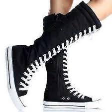 converse knee high boots. black knee high converse boots c