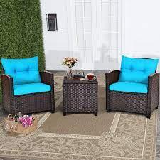 costway 3pcs patio rattan furniture set
