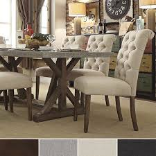 A Rustic Farmhouse Table Paired With Beautiful Tufted Dining - Tufted dining room chairs sale