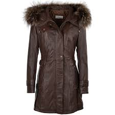 womens fur leather hooded coat brown ddy harriet womens leather jackets