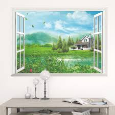 home decor trendy fake window art mural wall
