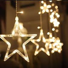 Copper Star Fairy Lights Andthere Led Star String Lights Battery Powered 2 5m Warm White Starry String Lights With 12 Stars 138 Leds 8 Modes Fairy Led String Windows Curtain