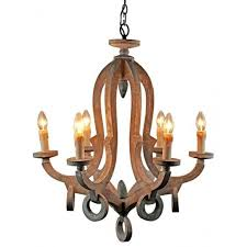 more views 6 light candle style antique wooden chandelier