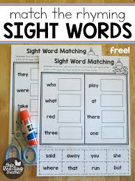 In the first worksheet, students will find a word that matches each of eight pictures and write it under the picture. Sight Word Worksheets Match The Rhyming Word This Reading Mama