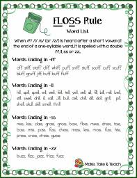 Phonics Generalizations Chart The Floss Rule Make Take Teach