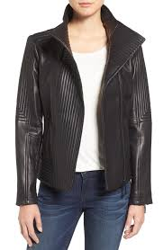 vince camuto women s trapunto leather jacket black 1749 larger image
